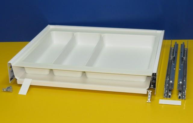 Blum Tandembox Antaro Schublade für 60er Schrankbreite, mit Mehrzweckeinsatz kunststoff weiß, tiefgezogen