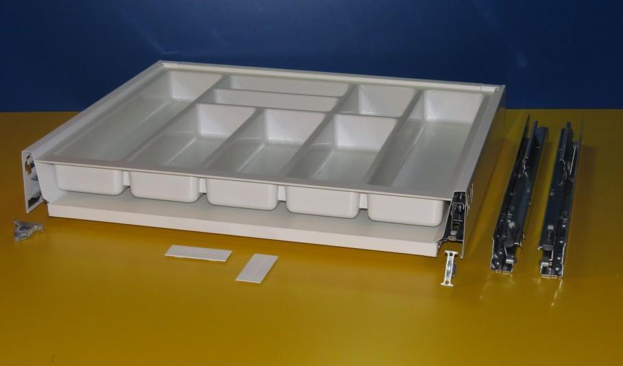 Blum Tandembox Antaro Schublade für 60er Schrankbreite, mit Besteckeinsatz kunststoff weiß, Spritzguss
