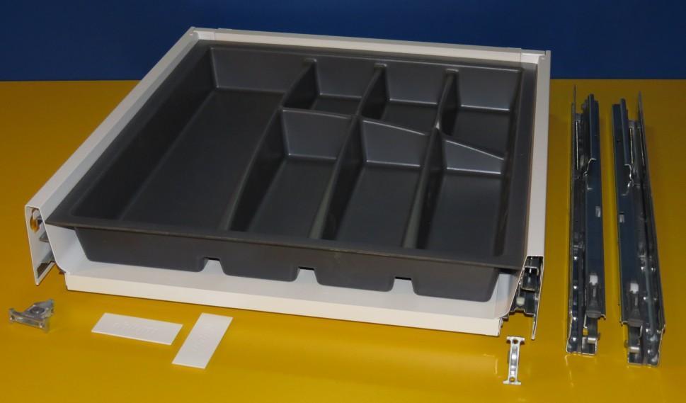 Blum Tandembox Antaro Schublade für 50er Schrankbreite, mit BRIDGE Besteckeinsatz schiefergrau, Tiefziehverfahren