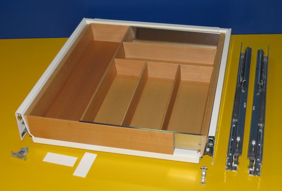 Blum Tandembox Antaro Schublade für 60er Schrankbreite mit Besteckeinsatz aus Holz, Buche