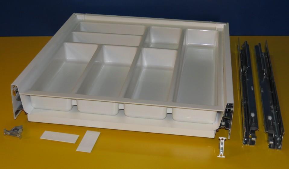 Blum Tandembox Antaro Schublade für 50er Schrankbreite, mit Besteckeinsatz kunststoff weiß, Spritzguss