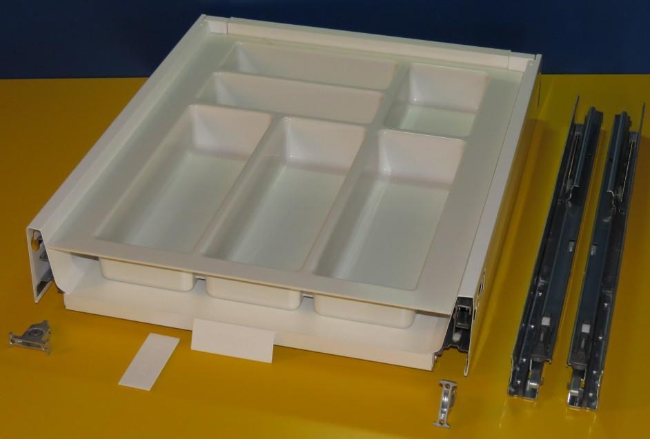 Blum Tandembox Antaro Schublade für 45er Schrankbreite, mit Besteckeinsatz Kunststoff (spritzguss) weiß