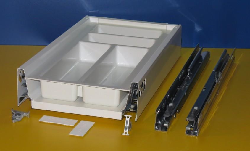 Blum Tandembox Antaro Schublade für 30er Schrankbreite, mit Besteckeinsatz Kunststoff weiß, Spritzguss